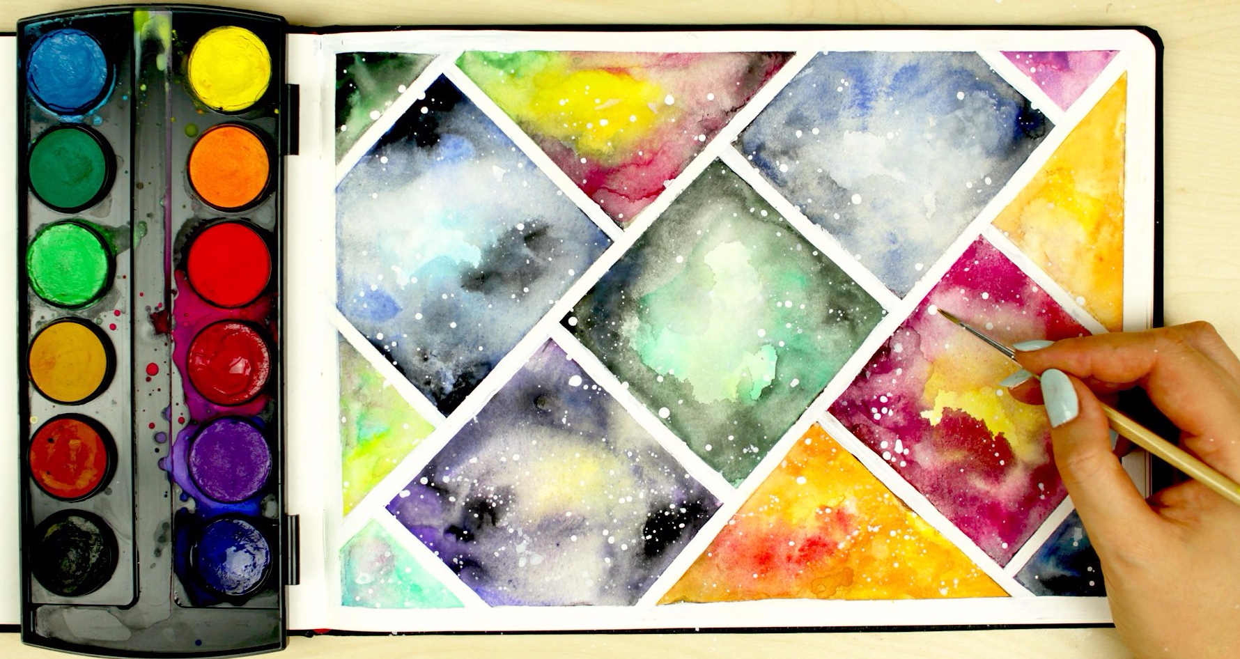 how-to-paint-a-watercolor-galaxy-using-cheap-paint-art-journal-thursday-makoccinoss